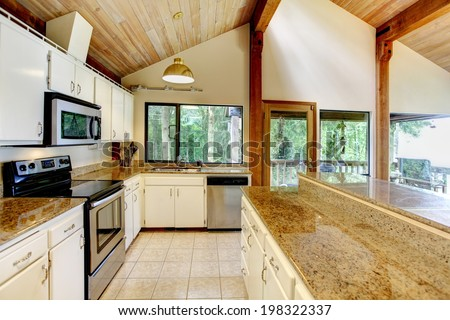 Log Cabin House Interior View Of White Kitchen Room With Steel Appliances