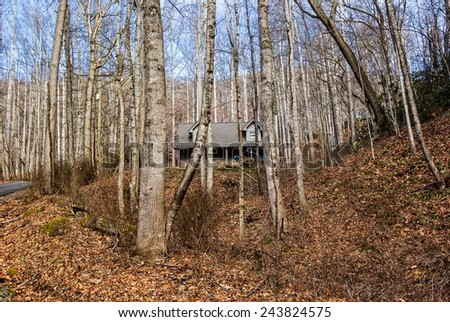 Log cabin in the wooded Smoky Mountains in Maggie Valley, North Carolina - stock photo