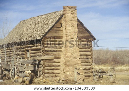Log cabin, Southern UT - stock photo