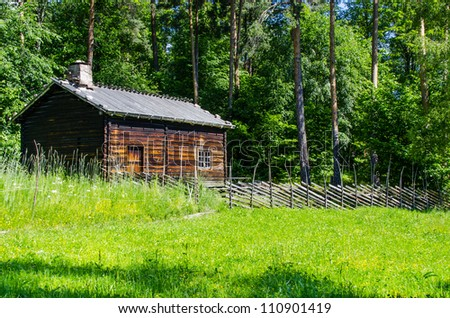Log cabin surrounded by the forest at Norway - stock photo