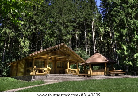 Log cabin with an outside fireplace - stock photo