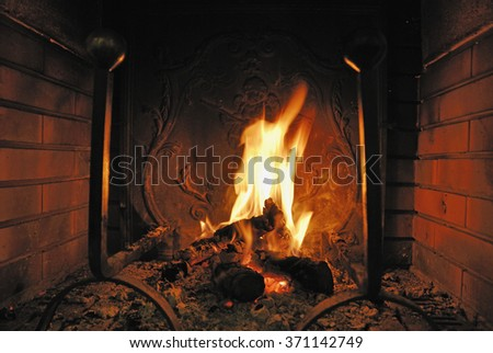 Log fire burning in a fireplace  - stock photo