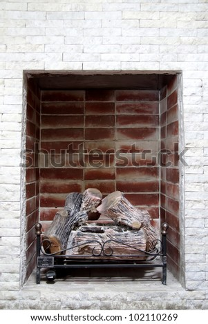log home with refractory bricks - stock photo