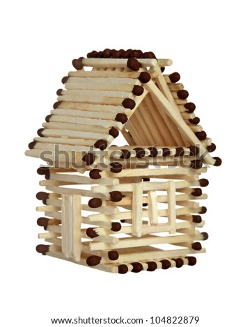 Log house from matches pattern isolated on white. Clipping path included. - stock photo