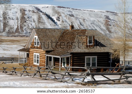 Log House on National Elk Refuge in Wyoming, USA - stock photo