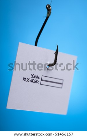 Log-in and password on hook - stock photo