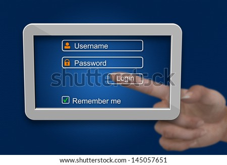 Log in and password on tablet computer screen
