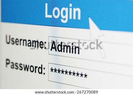 Log-in box on computer screen of admin - stock photo