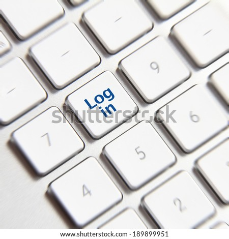 Log in icon on white keyboard button
