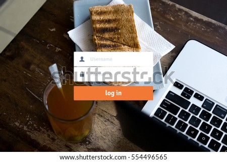 Log in Secured Access Verify Identity Password Concept with cafe or restaurant background