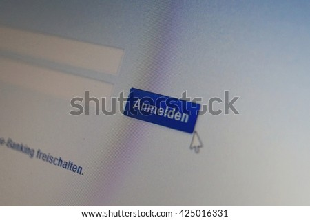 Log in to an online bank - stock photo