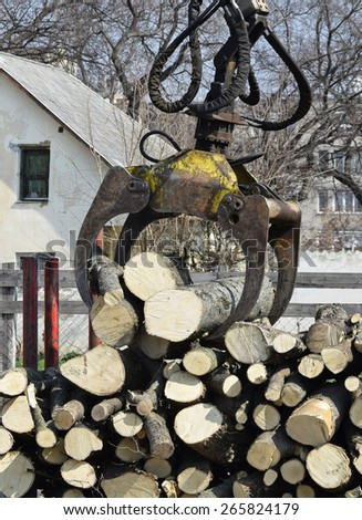 Log loader machinery - stock photo