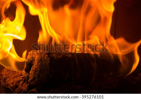 Log on fire burning billets in fireplace - stock photo