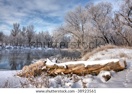 log on the bank of the winter river - stock photo