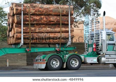 Log semi truck - stock photo