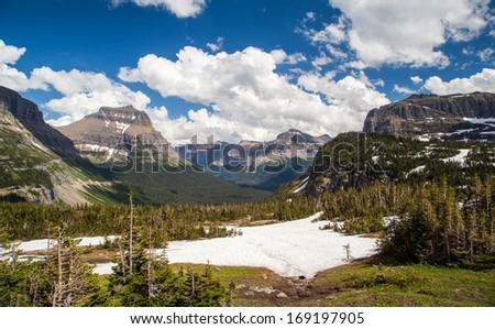 Logan pass landscape in Glacier national park, MT - stock photo