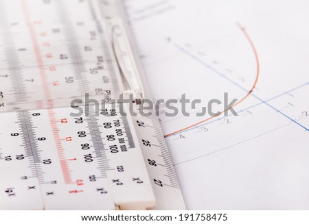 Logarithmic function on paper and old ruler for calculating