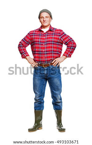Logger in red shirt isolated.