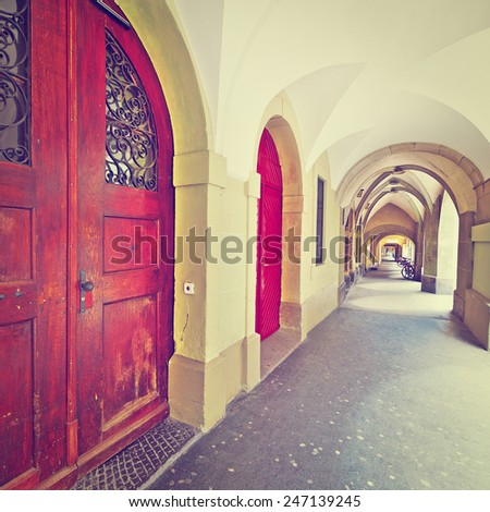 Loggia in the Swiss City of Berne, Instagram Effect - stock photo