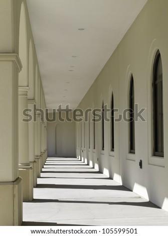 Loggia on college campus - stock photo