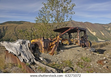 Logging equipment destroyed in the 1980 eruption of Mt. St. Helens - stock photo