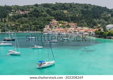 Loggos Bay where yachts visit during their sailing around the Greek Ionian Islands - stock photo