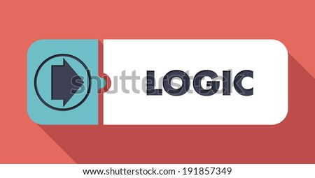 Logic Button in Flat Design with Long Shadows on Scarlet Background. - stock photo