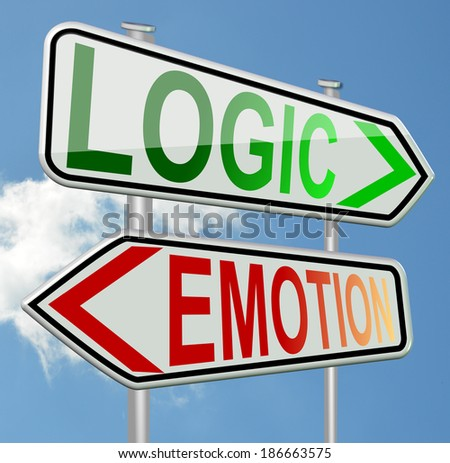 logic emotion - green and red sign - calm and anger - cool and love - stock photo