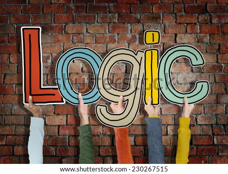 Logic Reason Thought Arms Holding Bricks Wall Concept - stock photo