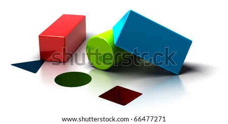 logical, triangle, cylinder, and square shapes over a white background