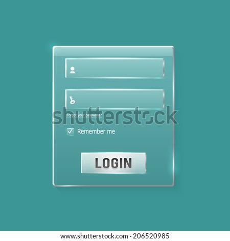 Login and register web glossy form. Modern glossy web card login form. Raster version