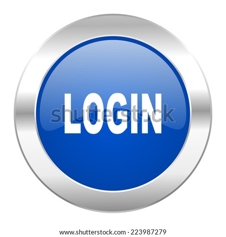 login blue circle chrome web icon isolated  - stock photo