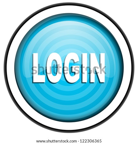 login blue glossy icon isolated on white background - stock photo