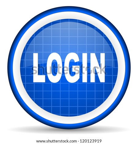login blue glossy icon on white background - stock photo