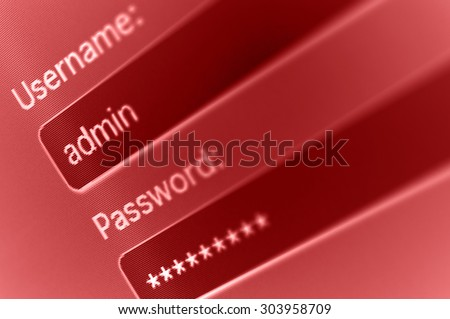 Login Box - Username - Admin and Password in Internet Browser on Computer Screen  - stock photo