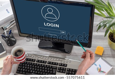 Login concept on a computer screen