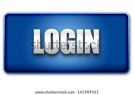 Login 3d blue button isolated on white background - UI interface website design element - stock photo