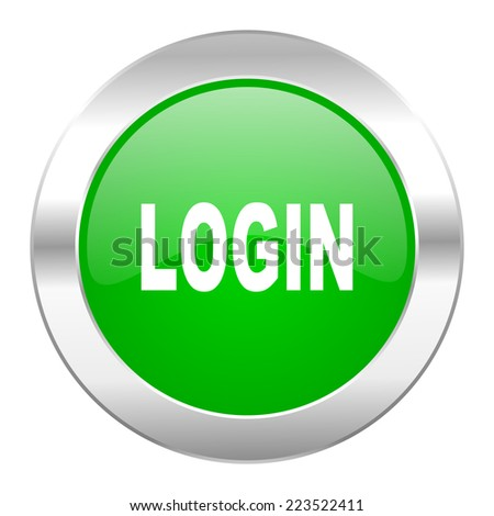 login green circle chrome web icon isolated  - stock photo
