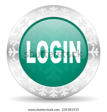 login green icon, christmas button  - stock photo
