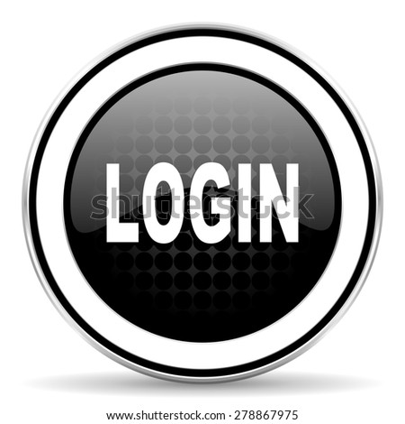 login icon, black chrome button  - stock photo