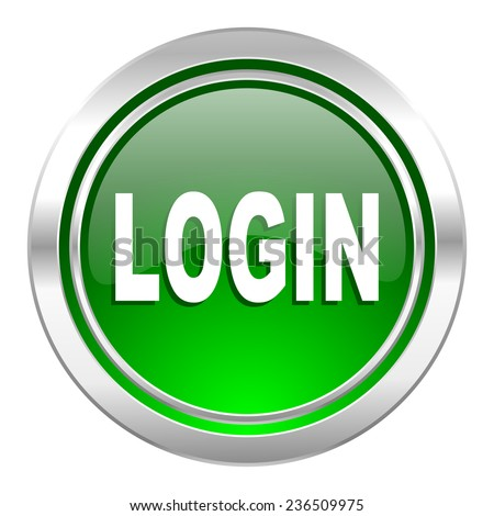 login icon, green button  - stock photo