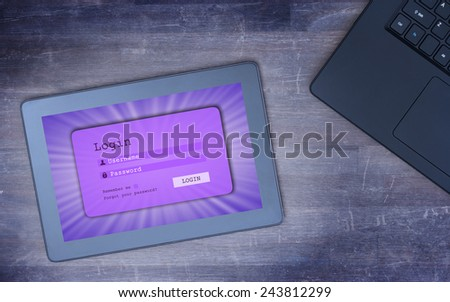 Login interface on tablet - username and password, purple, cold blue filter - stock photo