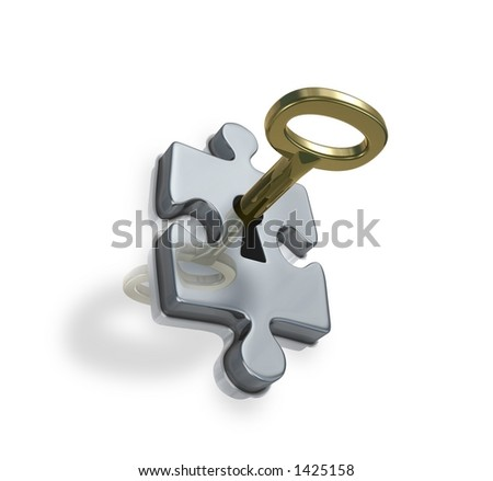Login (metaphor with a puzzles) - stock photo