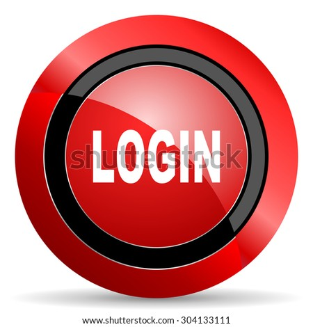 login red glossy web icon