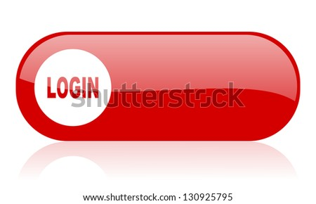 login red web glossy icon - stock photo