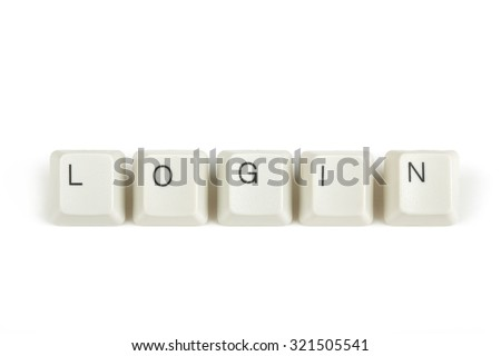 login text from scattered keyboard keys isolated on white background