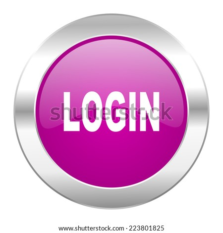 login violet circle chrome web icon isolated  - stock photo