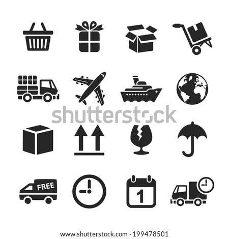 Logistic & delivery icons. Raster illustration. Simplus series - stock photo
