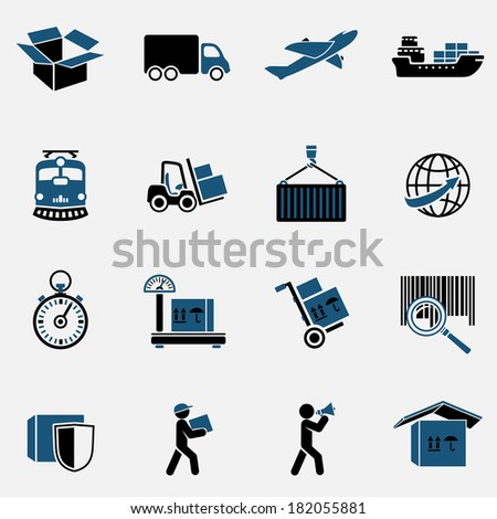 Logistic Global Supply Chain Icons Set Stock Vector