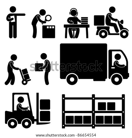 Logistic Warehouse Delivery Shipping People Icon Sign Symbol Pictogram - stock photo